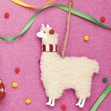 Sass & Belle Festive Llama Hanging Cream Decoration Animal Christmas Tree