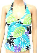 JANTZEN Ladies Tankini SWIMSUIT Swimming Costume HALTERNECK TOP Blue Green Leaf