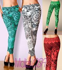 LEGGINGS Floreale Geometrico Semi Lucido Fuseaux Donna Pantaloni leggins