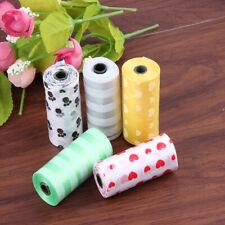 1/6/12pcs Roll Pet Cat Dog Waste Poop Bag Poo Printing Clean-up Degradable Bag T