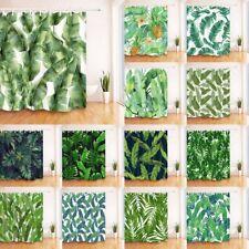 180*180cm Tropical Watercolor Banana Leaves Pineapple Shower Curtain Liner Hooks