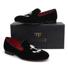 Handmade FERUCCI Men Black Velvet Slippers loafers with Silver Anchor