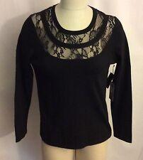 NWT $99 Vince Camuto Black Cotton Blend Lace Top Medium