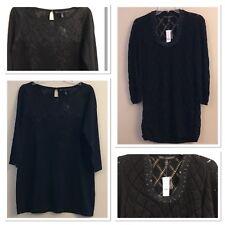 NWT WHITE HOUSE BLACK MARKET Tunic Sweater MEDIUM Black Lace or Sequins