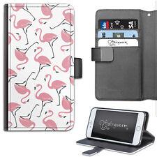 Hairyworm Rosa Flamingo patrón de Lujo de Cuero Billetera Teléfono Estuche, Flip Case