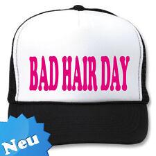 """Trucker Mesh Cap Mütze, mit dem Aufdruck """"BAD HAIR DAY"""" Neonpink"""