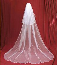New 2T weiß / Elfenbein lange Hochzeit Brautschleier Chapel Länge mit Kamm