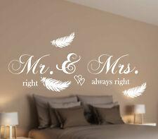 Wandtattoo Schlafzimmer  AN075 Wandaufkleber Mr & Mrs. right always right Spruch