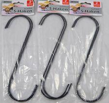 2 bis 10 S-Haken 25cm lang  XXL Haken Stahlhaken S-Form Schwarz Neu OVP