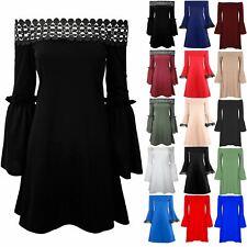 New Womens Ladies Off The Shoulder Bell Sleeve Lace Trim Bardot Swing Mini Dress