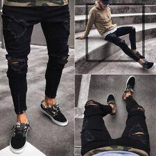 Men's Ripped Jeans Black Skinny Slim Fit Denim Pants Destroyed Frayed Trousers