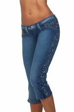 PXC Junior Womens Low rise soft Moleton Denim Capri Pants with studs