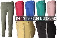 BASIC.de Damen-Hose Skinny mit Kontraststreifen aus Metall-Perlen MELLY CO 8166
