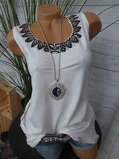 Sheego Top Shirt Gr. 40 - 52 Weiß mit Schwarz abgesetzt (524) NEU