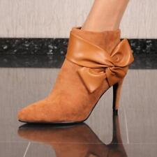 Damen Velours Stiefeletten mit Absatz und Schleife Camel #FR-1207