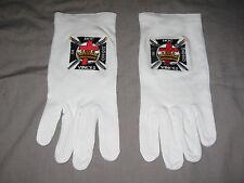 York Rites Knights Templar Embroidered White Cotton Gloves Ceremonial Logo NEW!