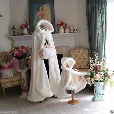 2019 Long Warm White Ivory Bridal Winter Wedding Cloak Cape Faux Fur Hood Jacke