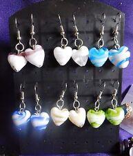 Earrings Set Glass Murano Art Lampwork Hearts Striped NEW