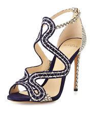 Alexandre Birman New Alice Suede/Snake Sandal Bali/Mono Natural $890 Mult Sizes
