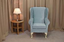 High Wingback Fireside Chair Duck Egg Velvet Fabric Seat Easy Armchair Wood Legs