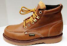"Mens Rhino 62M26 Tan Leather 6"" Soft Toe Moc Toe Lace Up Work Boots"