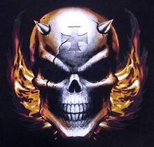 DEVIL SKULL SPIKE HORNS CROSS EVIL FLAMES T-SHIRT XT22