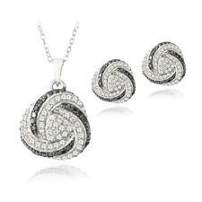 925 Silver Black Diamond & White Topaz Love Knot Earrings or Necklace