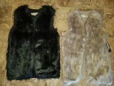 Nwt Womens Sebby Fashion Faux Fur Vest Black Natural Beige S M 2XL