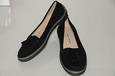 NUEVO MANOLO BLAHNIK planos FORD Ante conducción mocasines zapatos negros 36.5