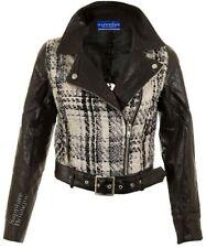 Mujer 't Blanco y Negro Punto Piel Sintética Con Cinturón Motero PVC chaqueta
