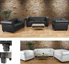 Luxus 3-2-1 Sofagarnitur Chesterfield, Couch, Kunstleder, runde oder eckige Füße