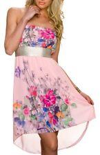 Sexy Donna capelloni chiffon mini abito a fascia fiori oro sera DRESS XS/S Rosa