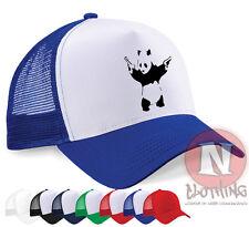 Banksy Panda guns grafitti urban art Half mesh retro trucker baseball cap hat