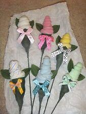 2 baby Washcloth Roses Baby Shower/yel/pur/gre/ora/bl u/pnk/strp/plain or trinket