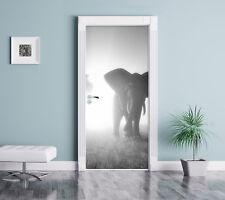 Großer afrikanischer Elefant in der Wüste Kunst B&W - Türaufkleber 200x90cm Türt