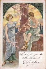 1903 Color Litho, Art Nouveau Postcard: Man Playing Flute, Woman Listens