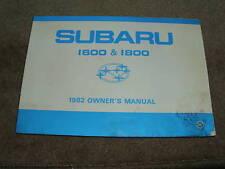 1982 SUBARU 1600 1800 FACTORY ORIGINAL OWNERS MANUAL
