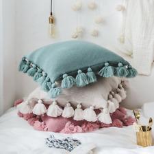 New Soft Acrylic Knitted Tassel Square Cushion Home decor Sofa Pillow 45x45cm