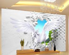 3D Flying Horse Through Bricks 33 Wall Paper Wall Print Decal Wall AJ Wall Paper