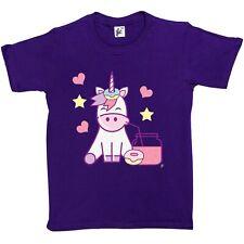 Unicorn beber jugo & comer espolvorear Donuts Niños Niñas Camiseta