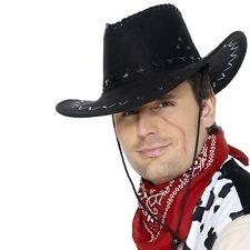 de lujo para hombre look Ante Disfraz Sombrero vaquero negro NUEVO por Smiffys