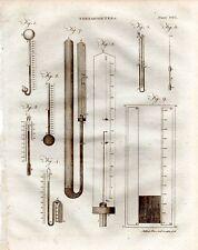 1797 stampa ~ diversi termometri & relativi diagrammi ETC