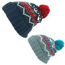 Beanie Hat Cap Warm Winter BLUE PURPLE Bobble Fairisle Hawkins Men Ladies
