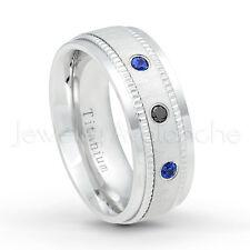 Dome Titanium Ring 0.15ctw Black Diamond & Blue Sapphire 3-Stone Wedding Band