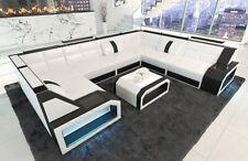 Leder Wohnlandschaft Couchgarnitur PESARO U Form LED Beleuchtung in weiß-schwarz