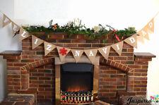 Feliz Navidad Christmas Hessian Bunting Burlap Garland Celebration Rustic Home