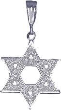 Sterling Silver Jewish Charm Star of David Pendant Necklace Diamond Cut Finish