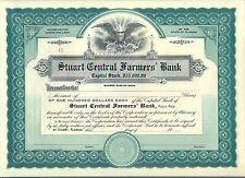 Stuart Central Farmers Bank Stock Certificate Florida