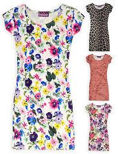 Girls Scuba Midi Dress Short Sleeved Bodycon Kids Dresses New Ages 3-13 Years