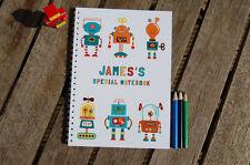 ROBOTS Personalizado Cuaderno Infantil Niña Niño Idea Regalo Varios Tamaños